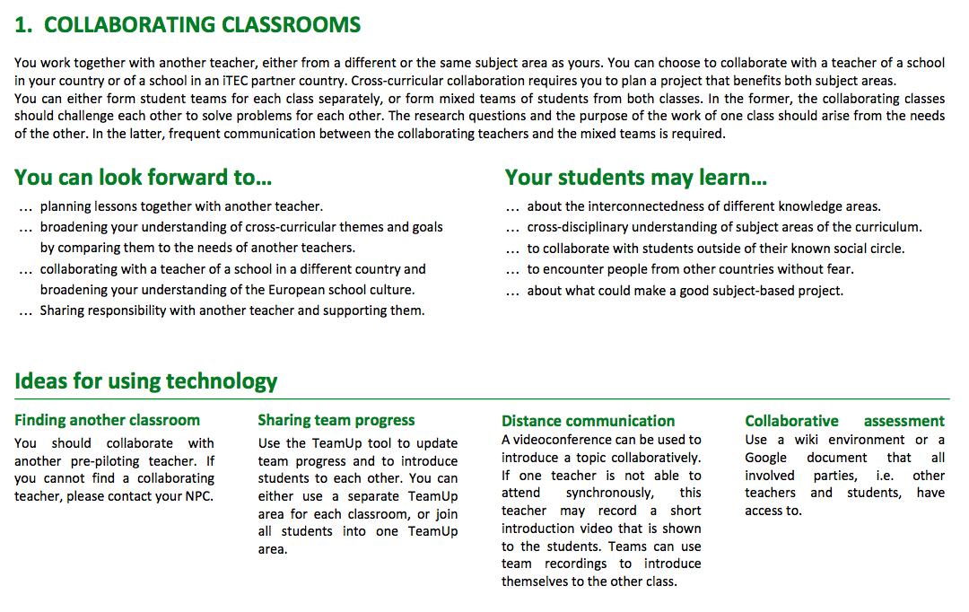Cycle 2 – Pre-pilot learning activities submitted « iTEC
